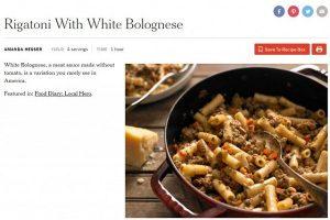 Made in Italy sempre più a rischio: il New York Times pubblica la ricetta della White Bolognese